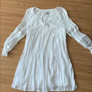 White ruched long sleeve dress - Old Navy - L